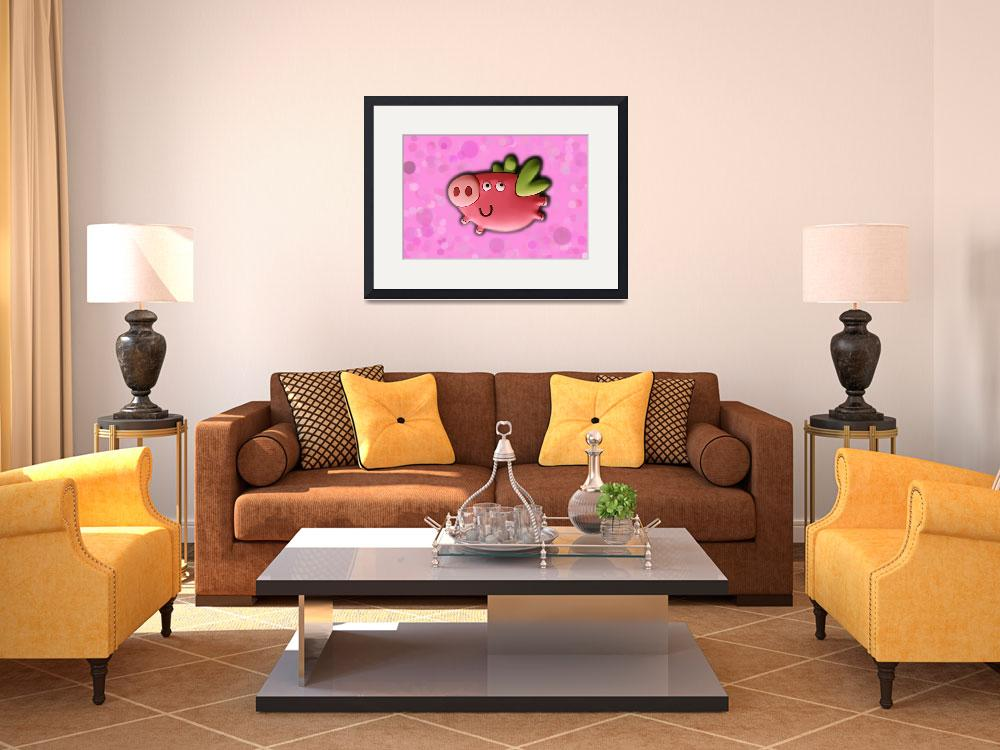 """""""Toy pig on pink background&quot  (2011) by Kybdica"""