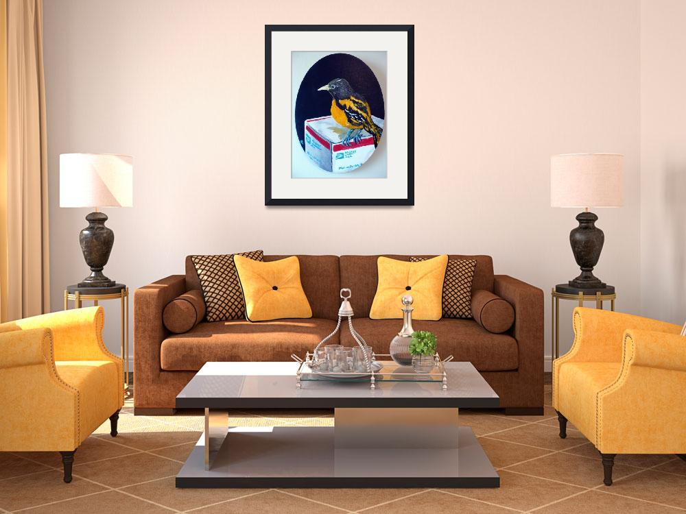 """""""Baltimore Oriole with Medium Flat Rate Box&quot  by Polylerus"""
