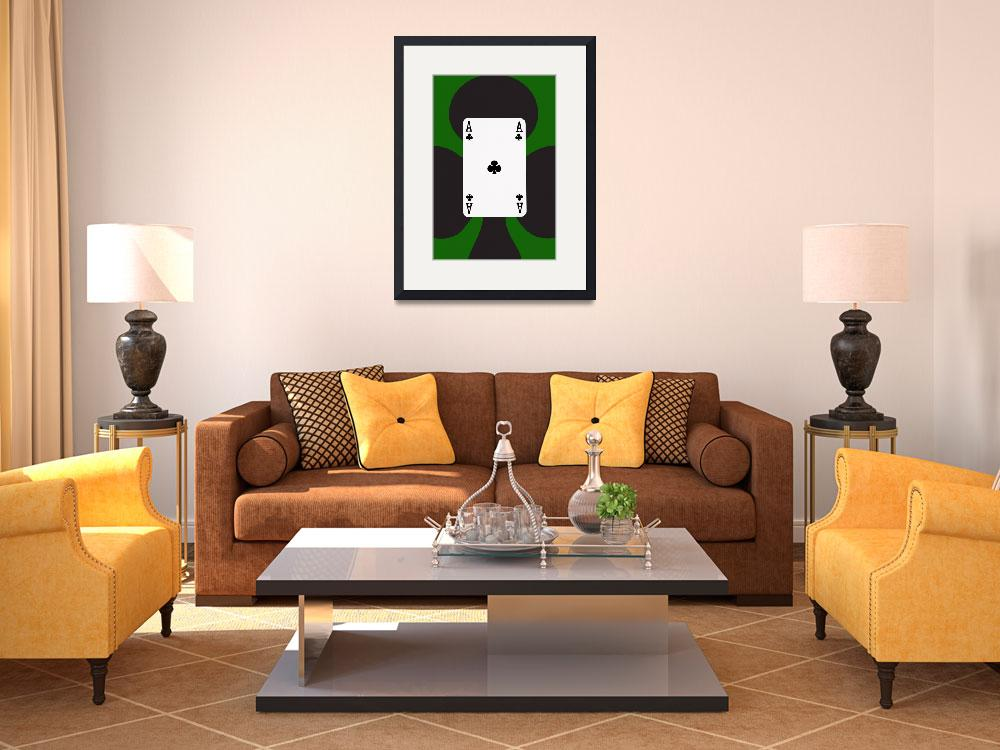 """""""Playing Cards Ace of Clubs on Green Background&quot  (2012) by NatalieKinnear"""