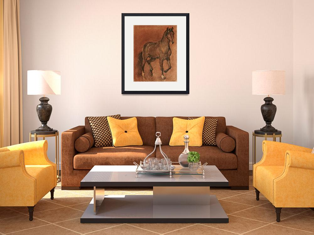 """""""brown-horse-drawing&quot  (2002) by Ezartesa"""