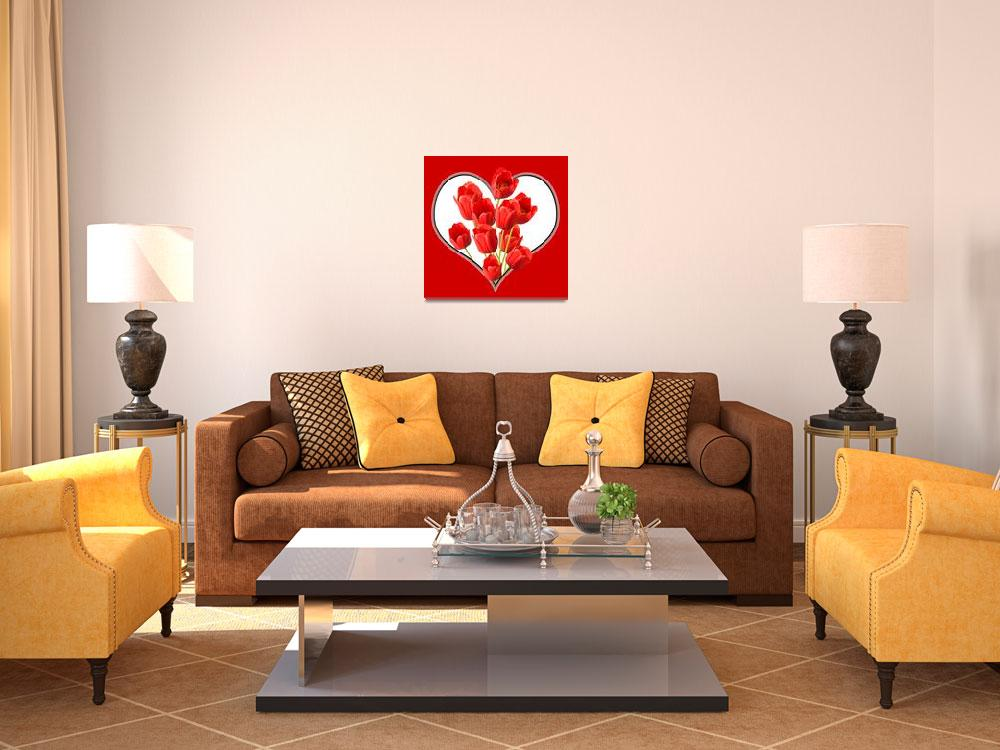 """Valentines Heart Tulips Square Wall Art&quot  (2012) by NatalieKinnear"