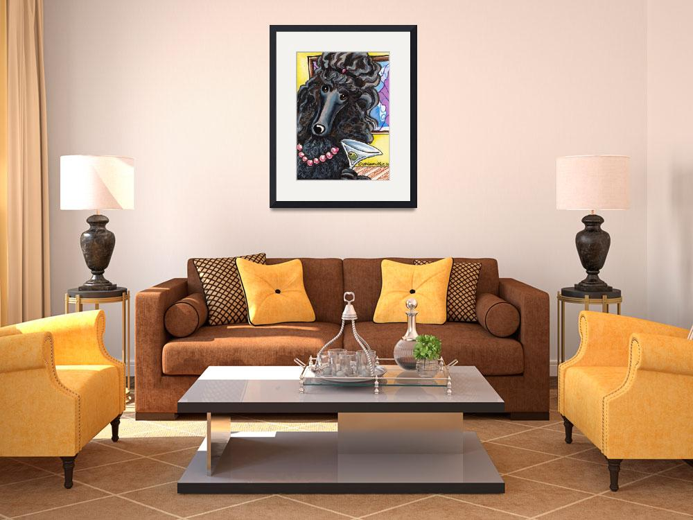 """""""Standard Black Poodle Ready to Mingle&quot  (2010) by OffLeashArt"""