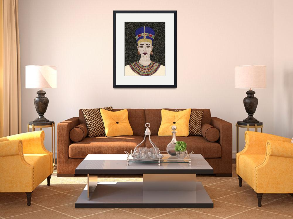 """""""Queen Nefertiti - fabric mosaic&quot  (2005) by RemnantWorks"""