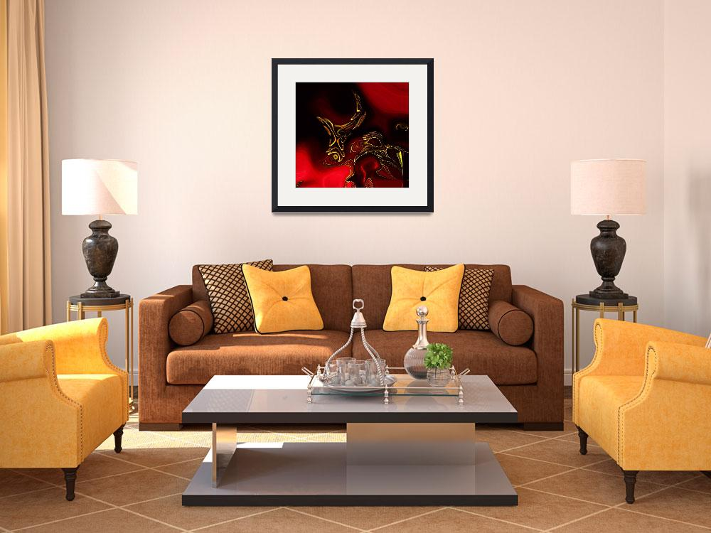 """Zizzago Art Abstract Red Gold Flame 2""  (2009) by shanmaree"