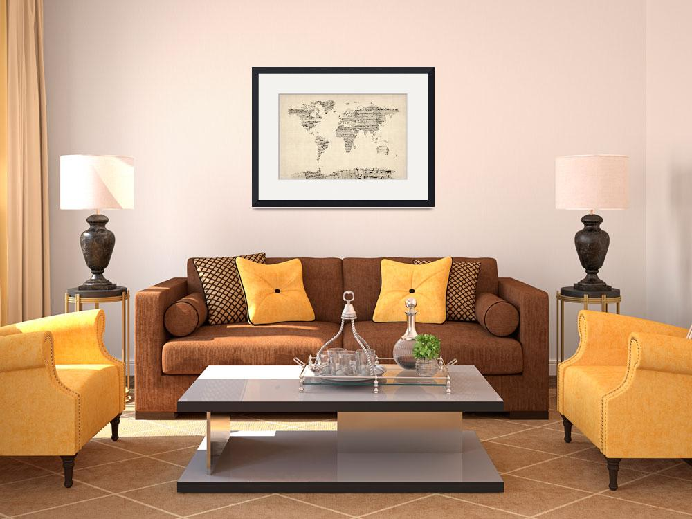 """""""Map of the World Map from Old Sheet Music&quot  (2012) by ModernArtPrints"""