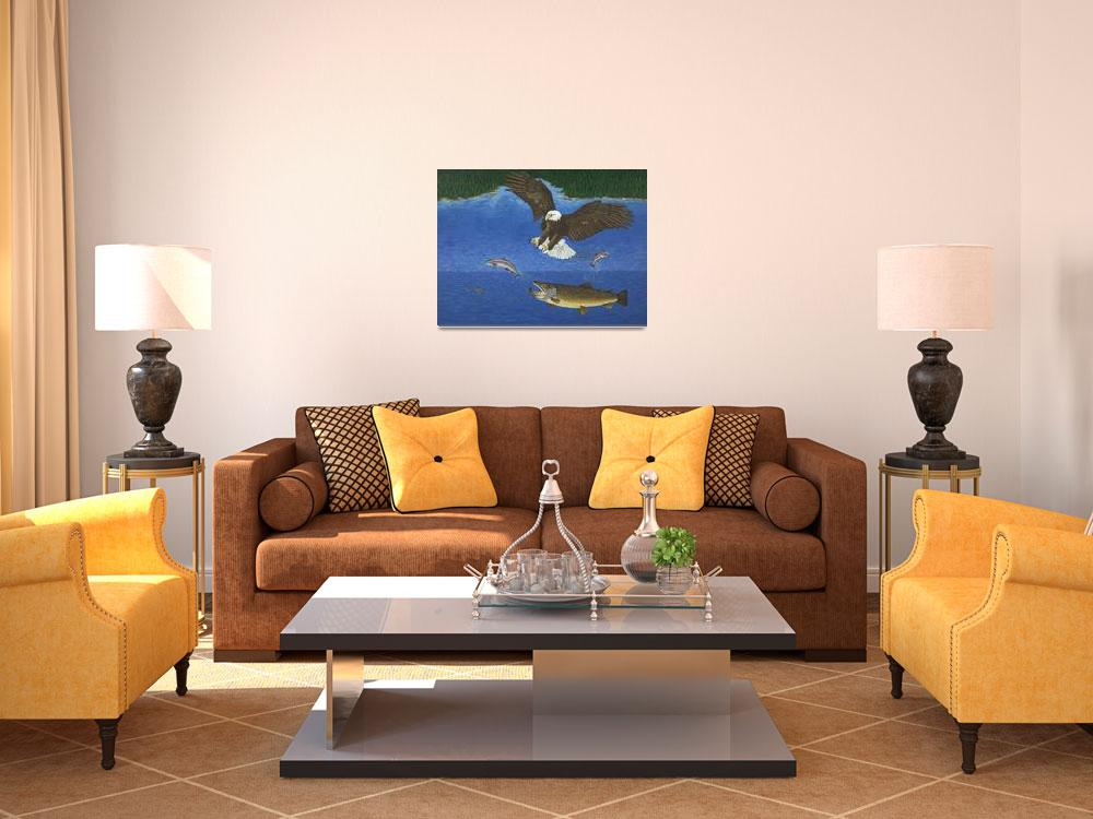 """Fine Art Prints Brown Trout Eagle Fish Hunting""  (2008) by BasleeTroutman"
