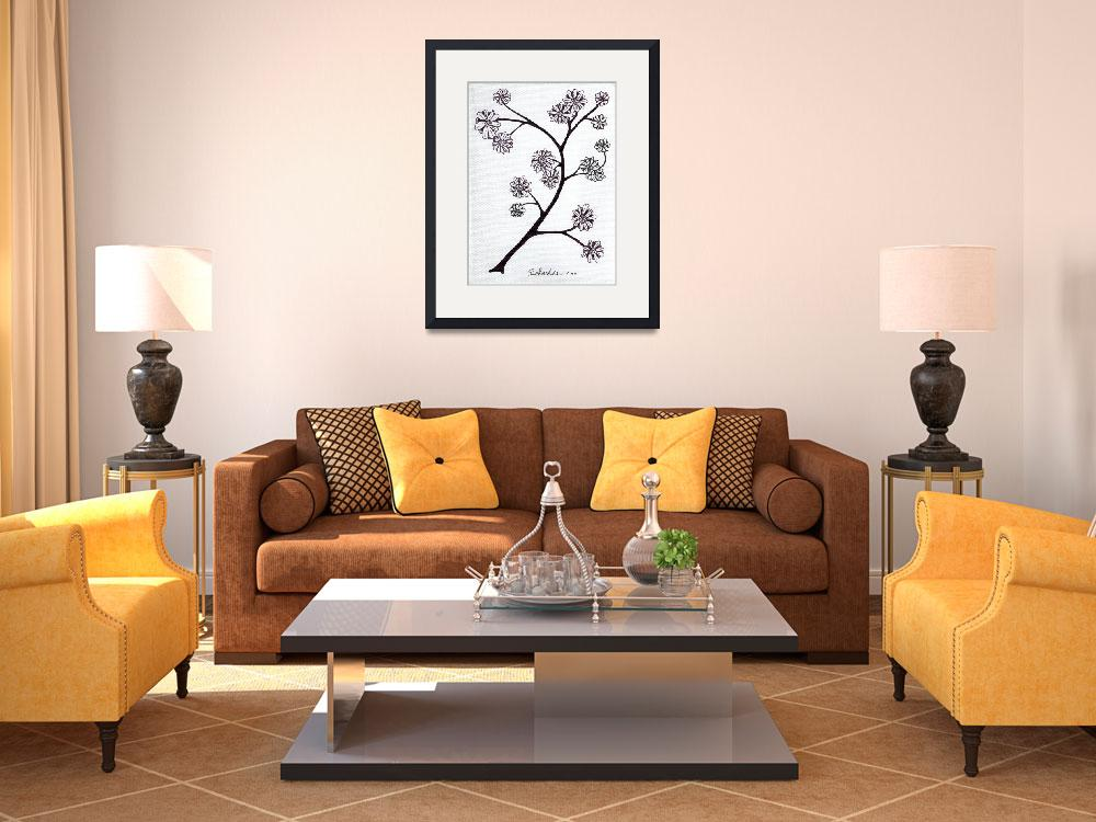 """""""Zen Sumi Flower Branch Black Ink on White Canvas&quot  (2011) by Ricardos"""