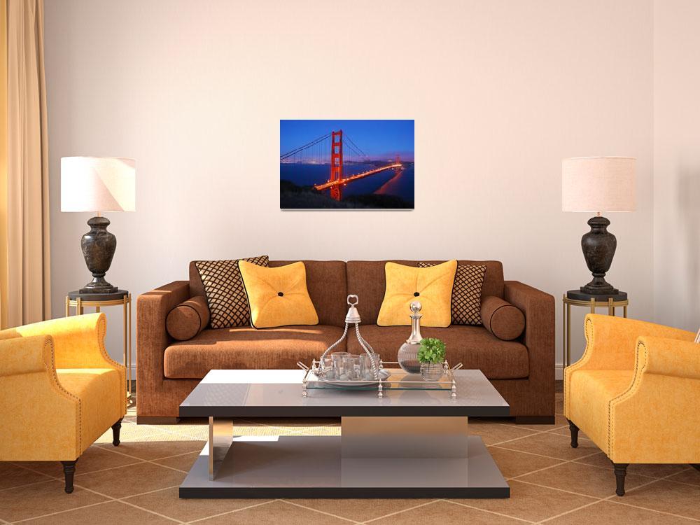 """San Francisco-Golden Gate Bridge at Night""  (2009) by AnnaMiller"