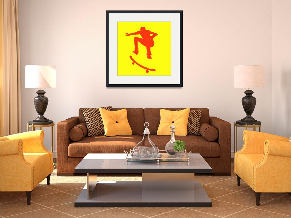 """""""Skateboarder 2 . yellow red (c)""""  (2014) by edmarion"""