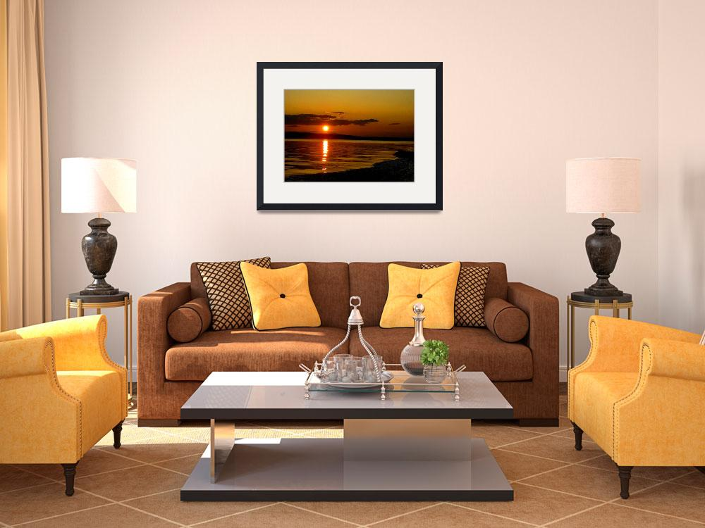 """framed-print-large-14x10-whidbey-sunset2&quot  by wavian"