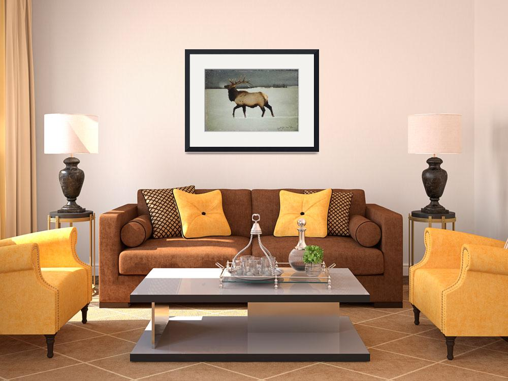 """""""american elk in silver mist&quot  (2008) by rchristophervest"""