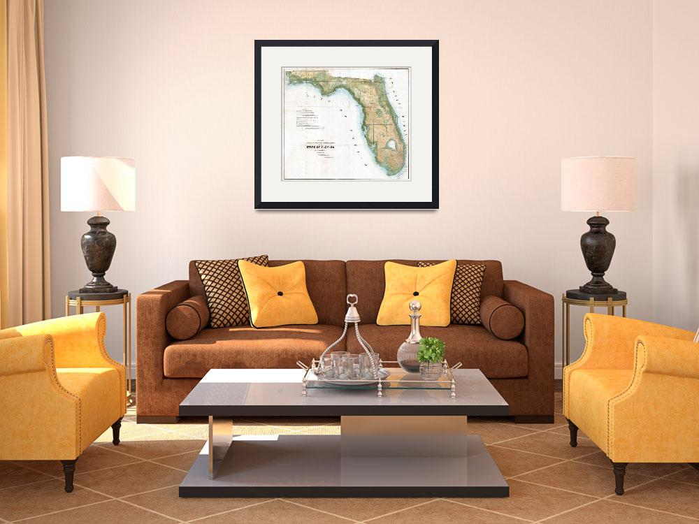 """""""Vintage Map of Florida (1848)&quot  by Alleycatshirts"""