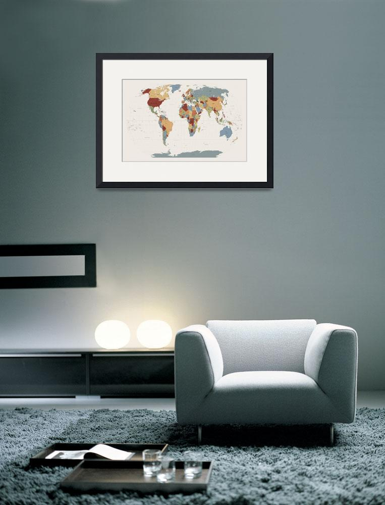 """World Map Muted Colors&quot  (2011) by ModernArtPrints"