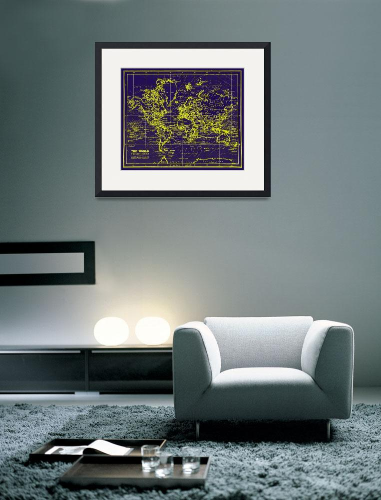 """""""World Map (1899) Blue & Yellow&quot  by Alleycatshirts"""