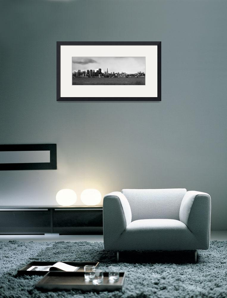 """""""sf_skyline_panorama_tisland_bw_P&quot  by worldwidearchive"""