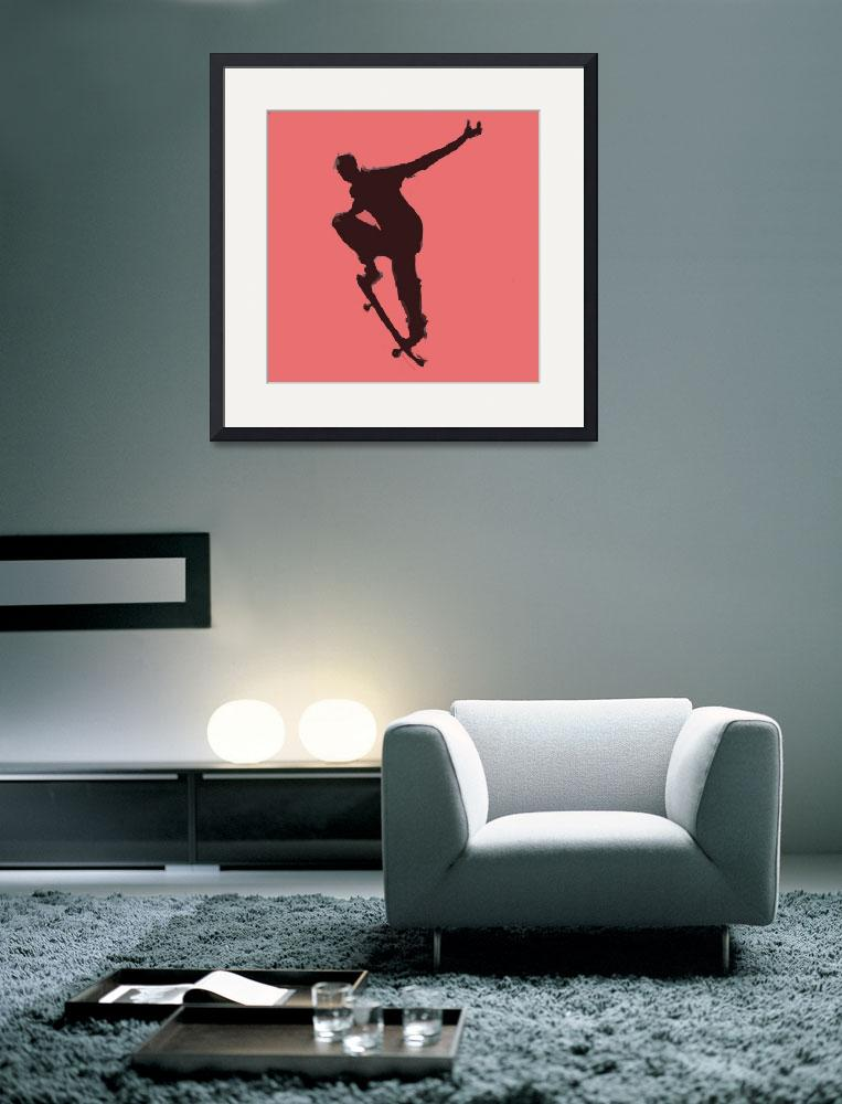 """""""Skateboarder 1 . red pink charcoal gray black (c)""""  (2014) by edmarion"""