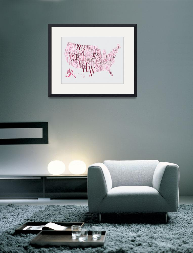 """""""Bubble Gum US Typography Map&quot  by circleart"""