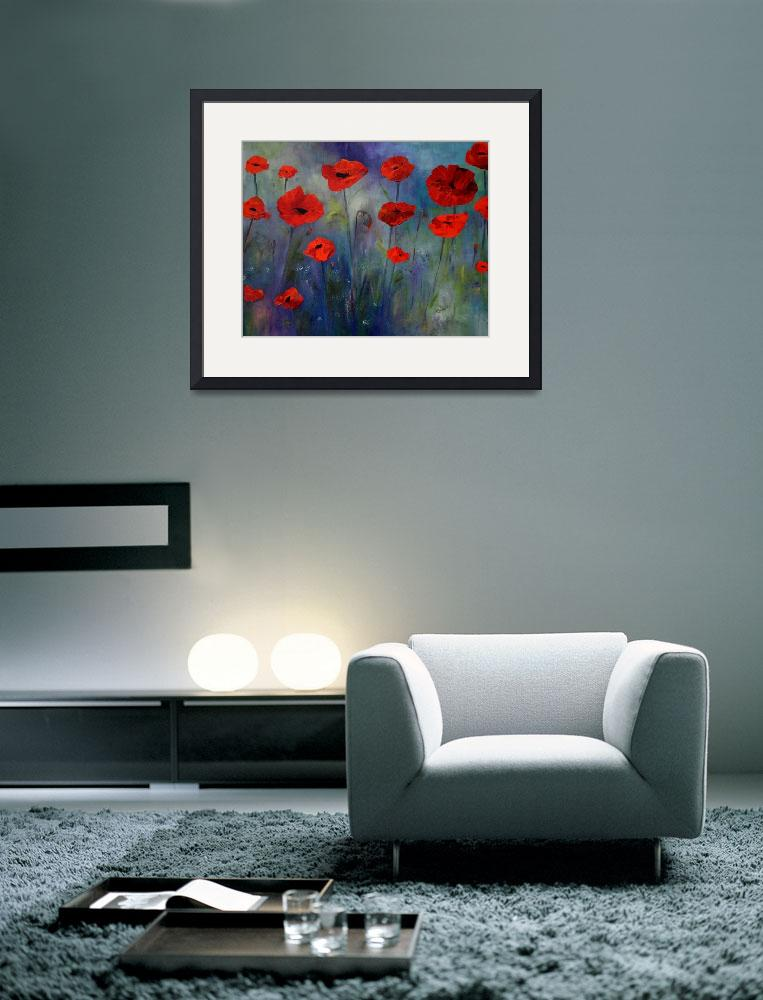 """""""Red Poppies Blue Fog&quot  (2014) by artbyclaire"""