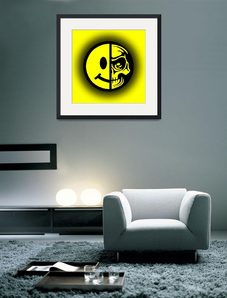 """Smiley Face Skull Yellow Shadow""  (2018) by RubinoFineArt"