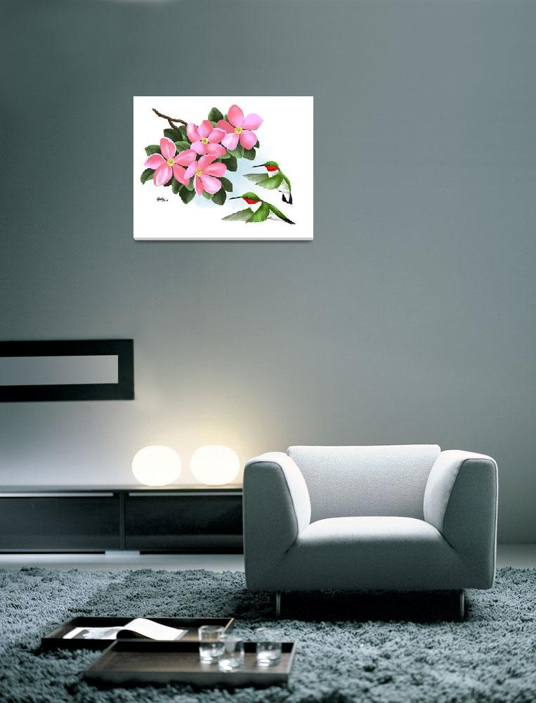 """""""Two Hummingbirds and Pink Flowers&quot  (2013) by waterart"""