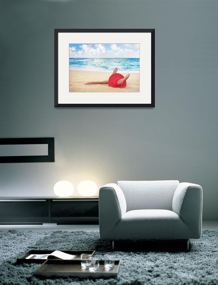 """""""Hawaii, Woman Laying On The Beach&quot  by DesignPics"""