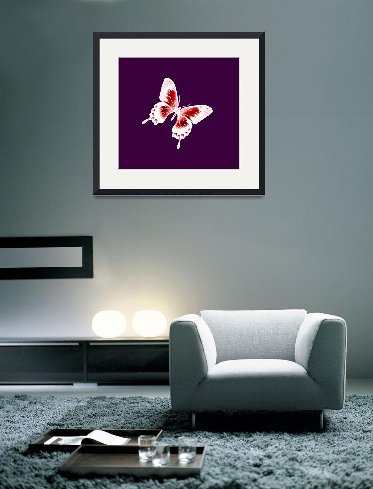 """""""Red & White Butterfly Violet Background&quot  (2013) by TheNorthernTerritory"""