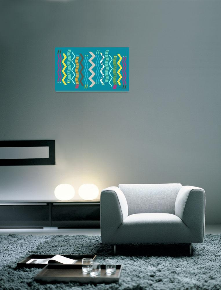 """""""Modern Zigzags Blue&quot  (2013) by RuthPalmer"""