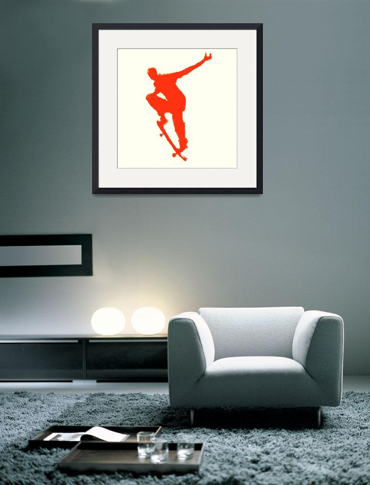 """""""Skateboarder 1 . tan red (c)&quot  (2014) by edmarion"""