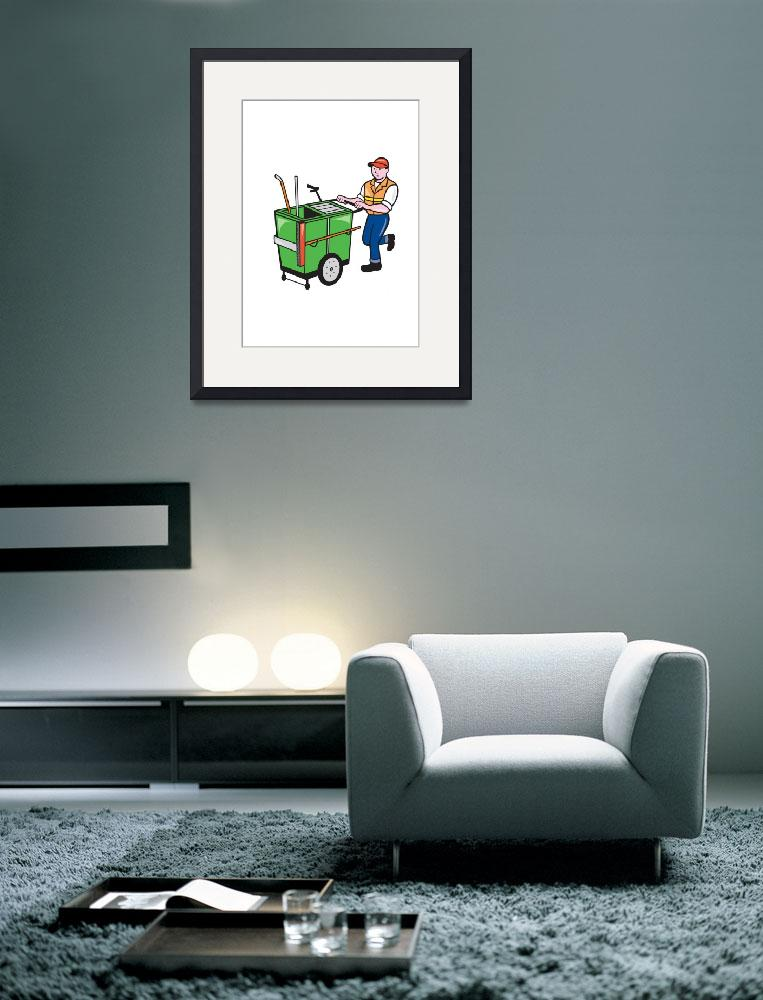 """""""Streeet Cleaner Pushing Trolley Cartoon Isolated&quot  (2014) by patrimonio"""