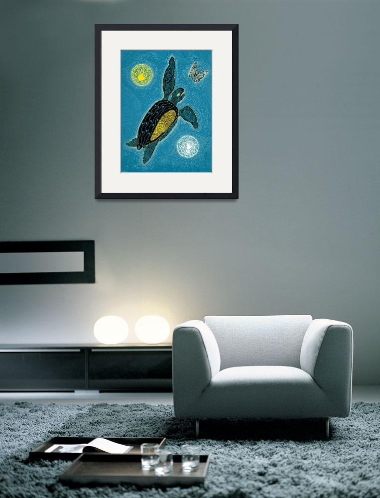 """""""Sea Turtle and Butterfly (Pinta Blue Version)&quot  (2009) by MickSylvestre"""