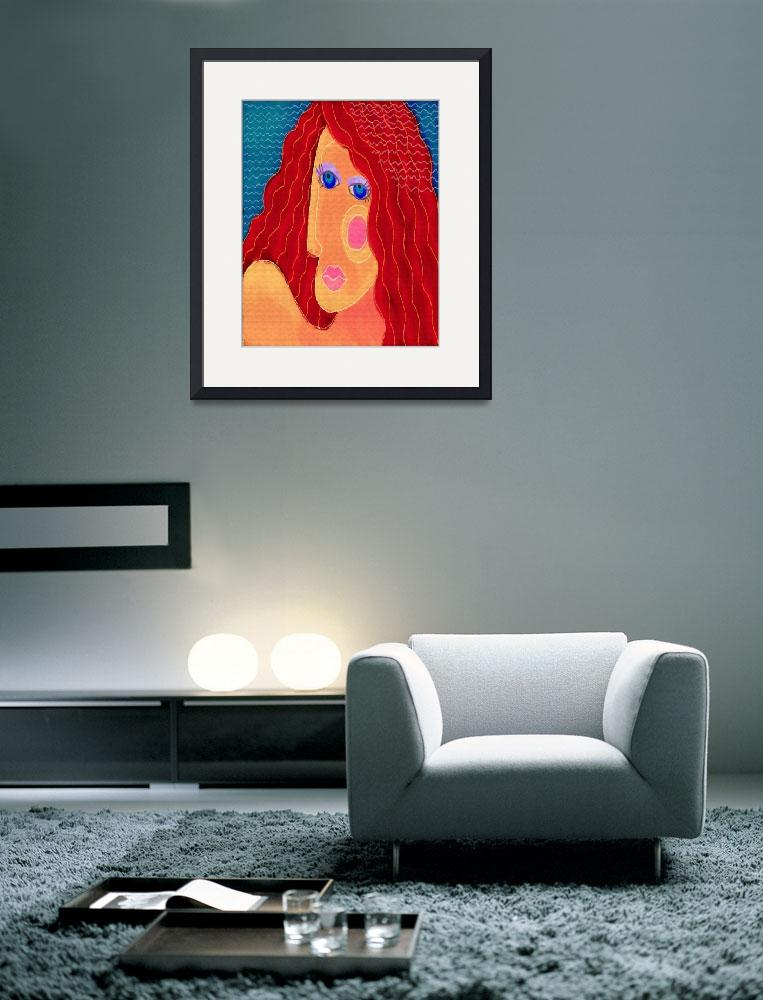 """Abstract Woman with Red Hair Digital Portrait""  (2015) by jackieludtke"