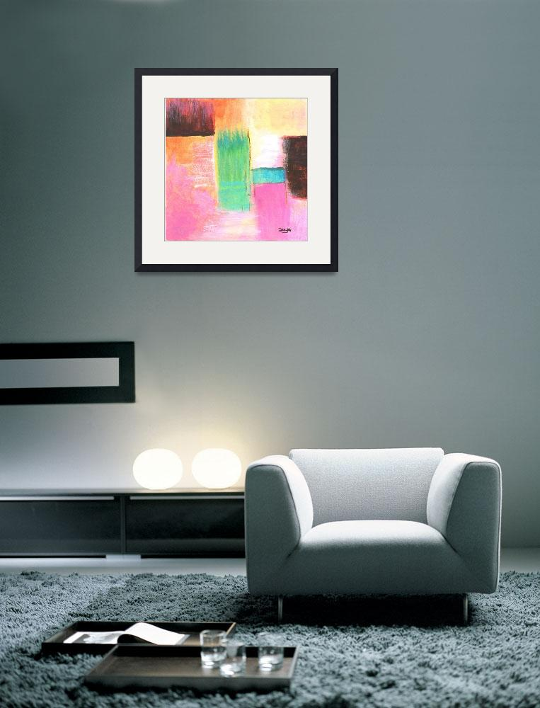 """""""Abstract Landscape Art Painting Water Pink Orange&quot  (2007) by Itaya"""