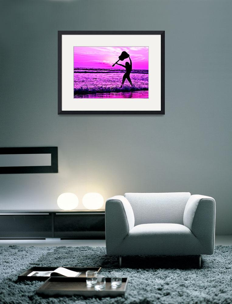"""Sassy Girl Musician Holding Guitar Purple Sunset&quot  (2015) by NovazziPhotoArt"