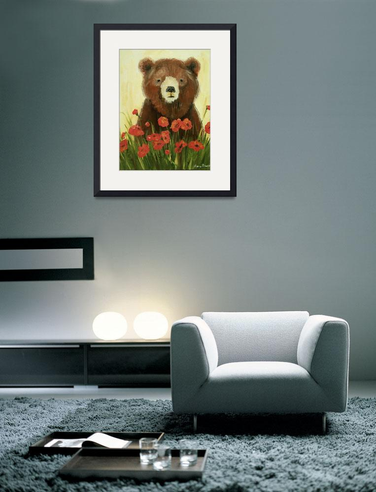 """""""Bear In Poppies&quot  (2010) by rebeccamudd"""