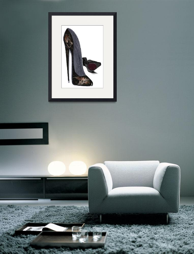 """Black and Copper Stiletto Shoe Art&quot  (2012) by carolekeen"