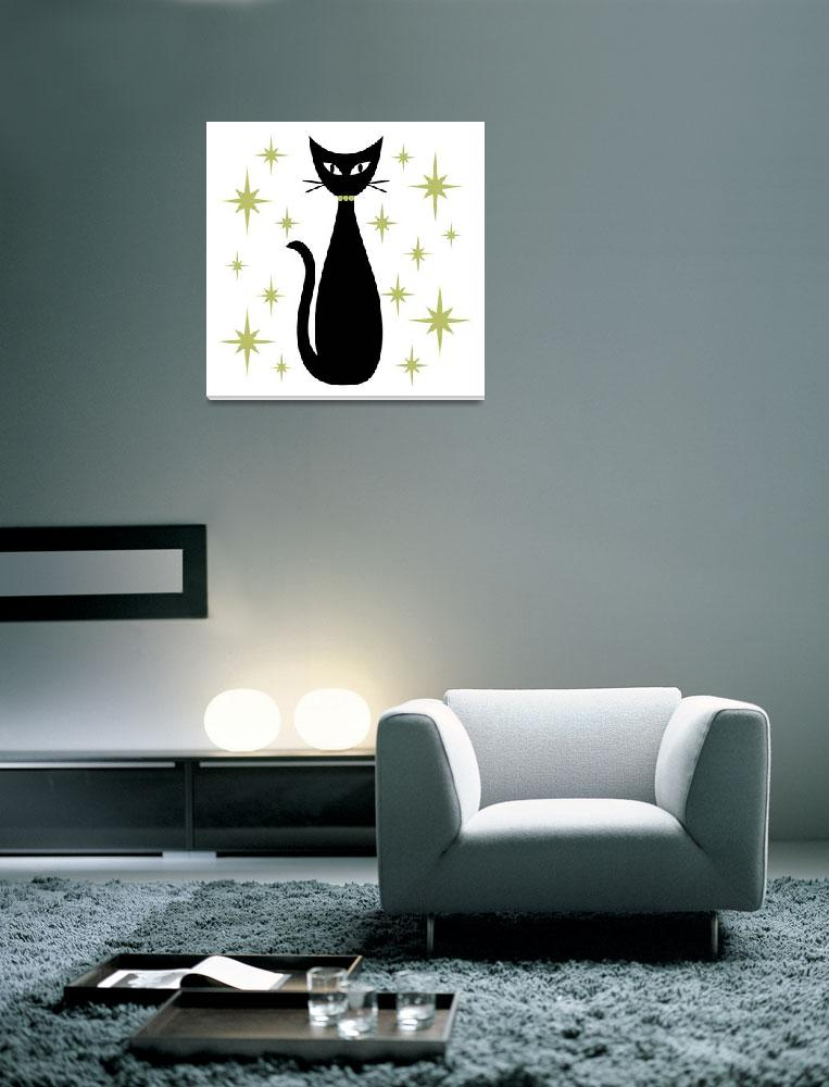 """""""Mid Century Cat with Green Starbursts""""  by DMibus"""