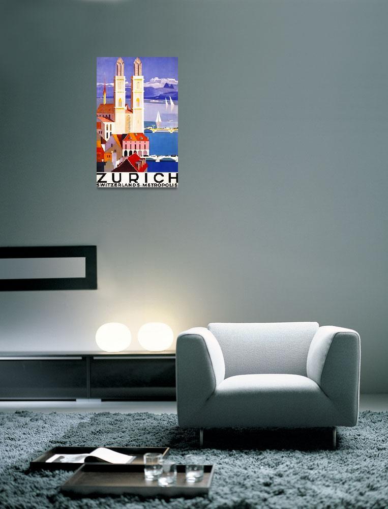 """Zurich, Switzerland Vintage Travel Poster""  by FineArtClassics"