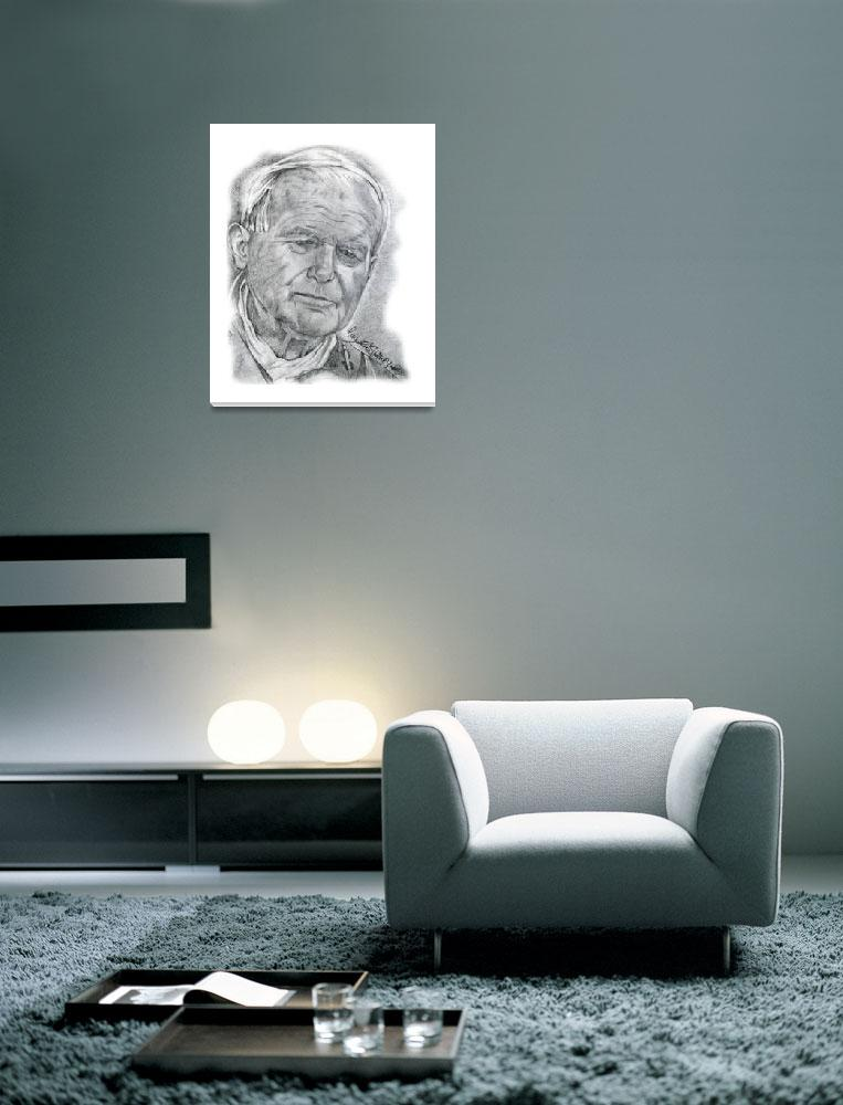 """""""Hand Drawn Portrait of Pope John Paul II&quot  by CreativeArtisticNuance"""
