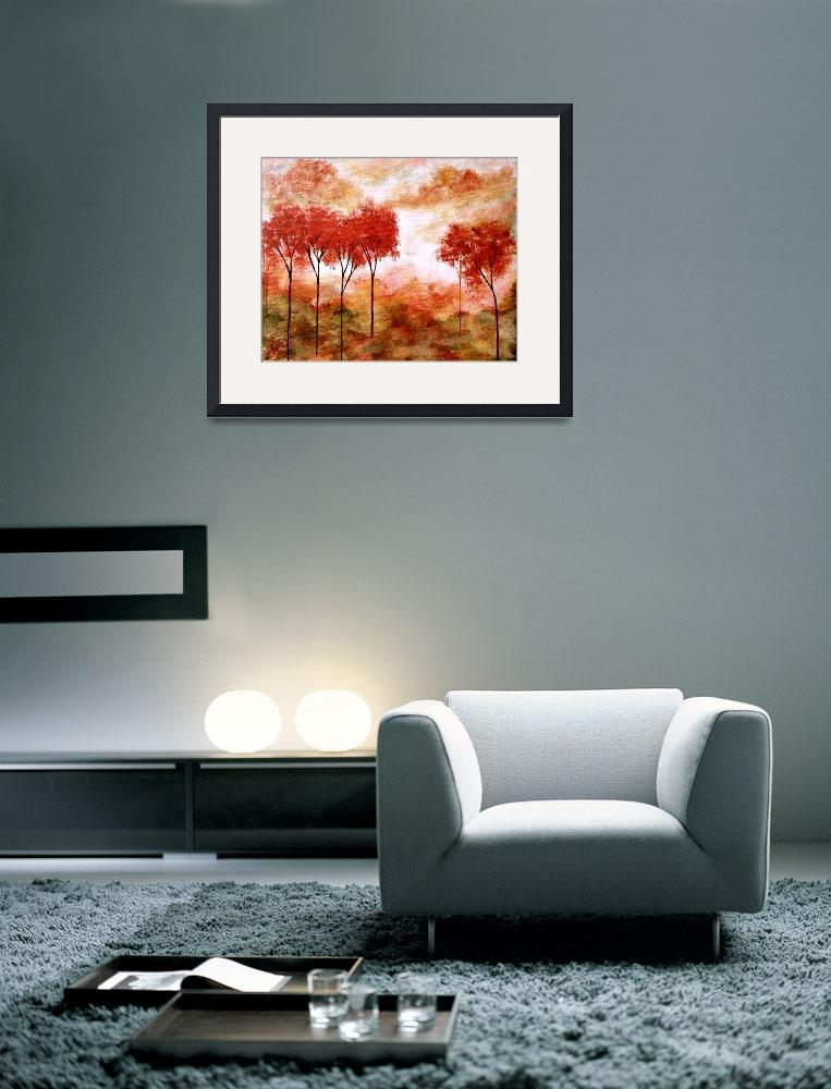 """""""Burning Promise Skinny Red Autumn Trees Landscape&quot  (2008) by Itaya"""