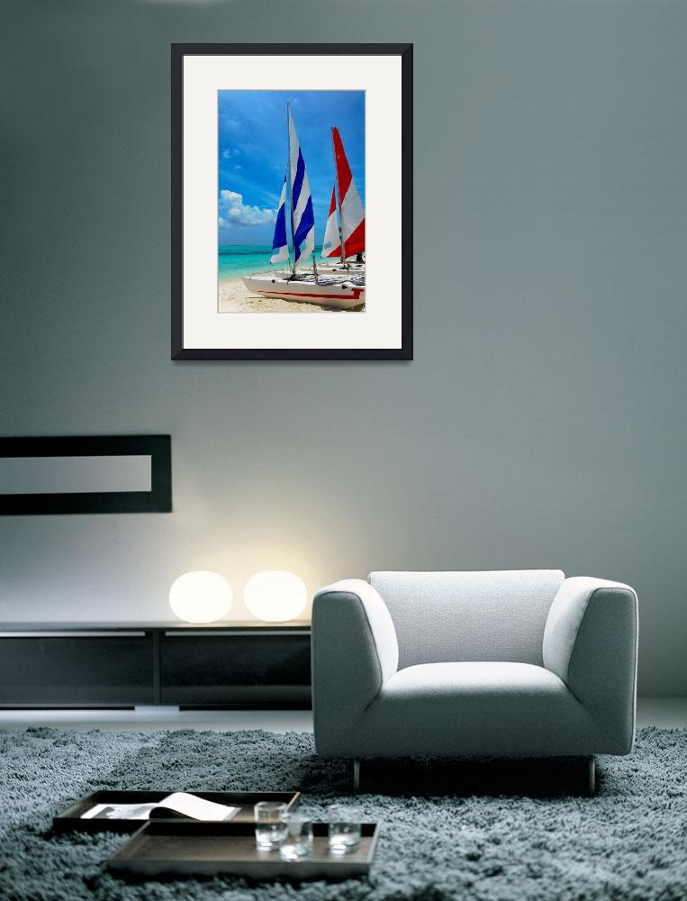 """""""Catamarans on the Beach&quot  (2013) by JennyRainbow"""