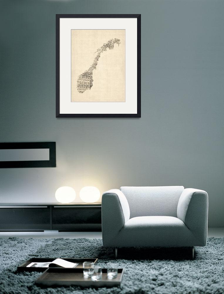 """""""Old Sheet Music Map of Norway""""  (2014) by ModernArtPrints"""