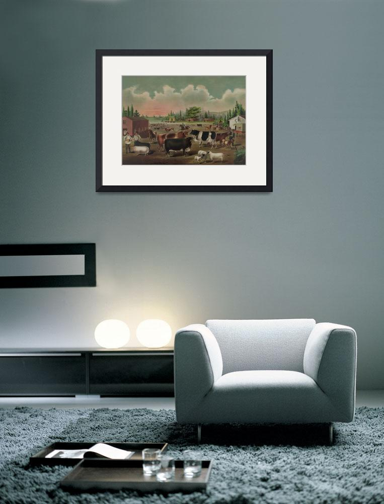 """""""Vintage Livestock Farm Painting (1887)&quot  by Alleycatshirts"""