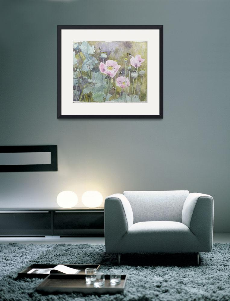 """""""Pink poppies with bees""""  by fineartmasters"""
