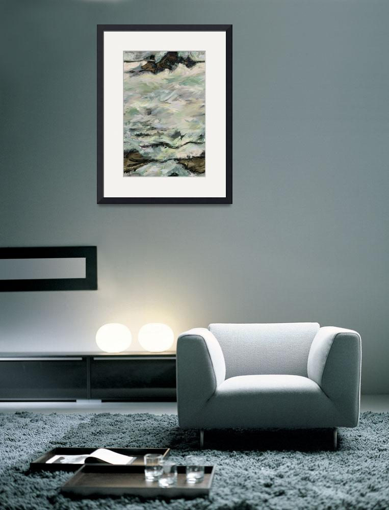 """Whitewater Rocks-Abstract Seascape Painting""  (2012) by Leyland"