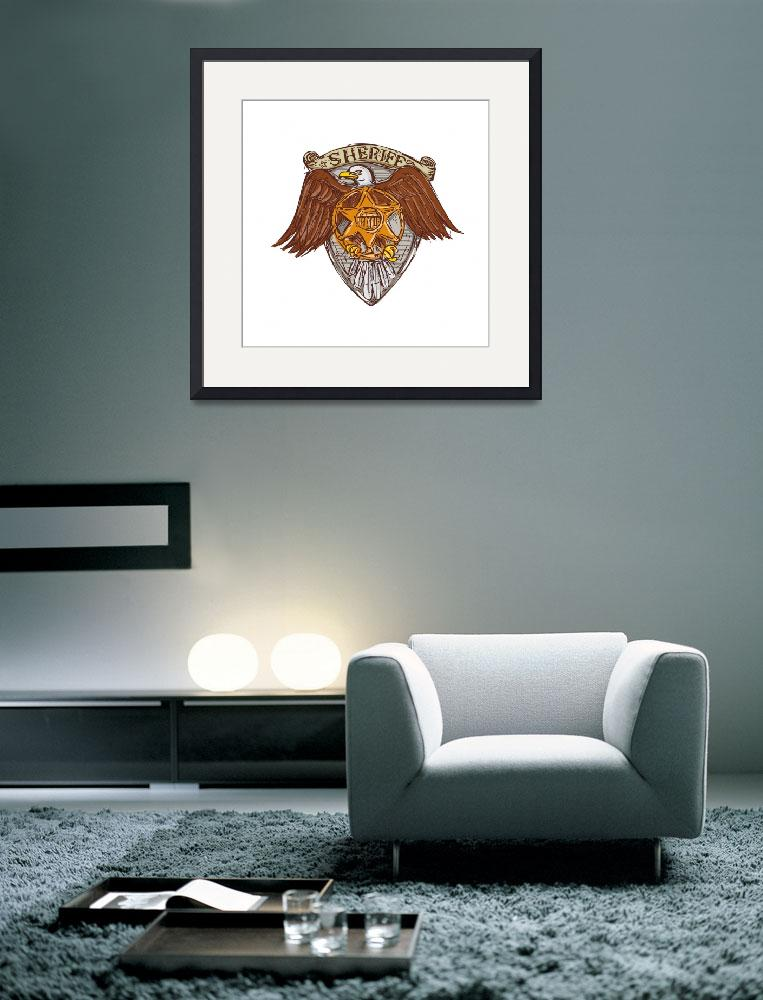 """""""Sheriff Badge American Eagle Shield Drawing&quot  (2015) by patrimonio"""