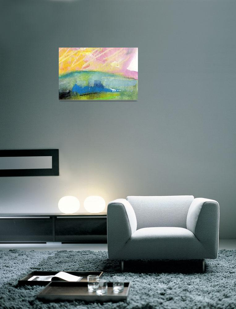 """""""Pink Sky Landscape WC and Pastel by Ginette""""  (2011) by GinetteCallaway"""