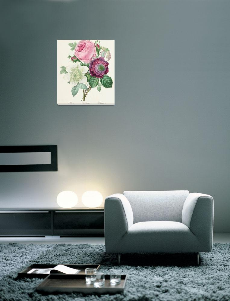 """""""Rose, Anemone and Clematis""""  by fineartmasters"""