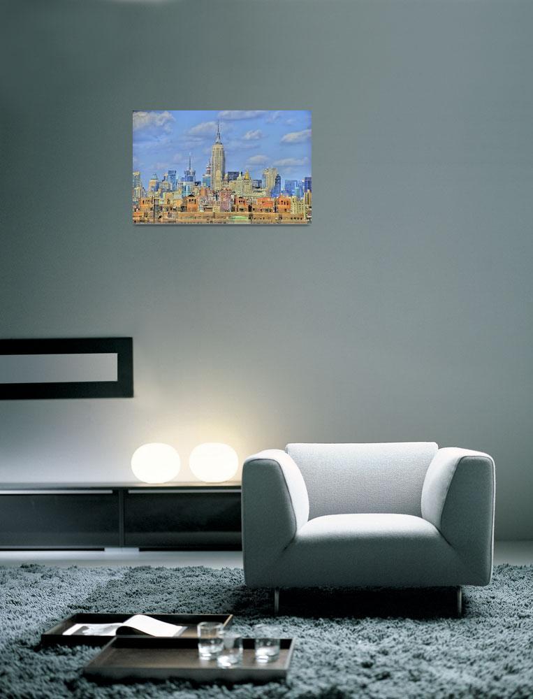 """New York Skyline from Brooklyn Bridge""  (2007) by PaulGaitherPhotography"