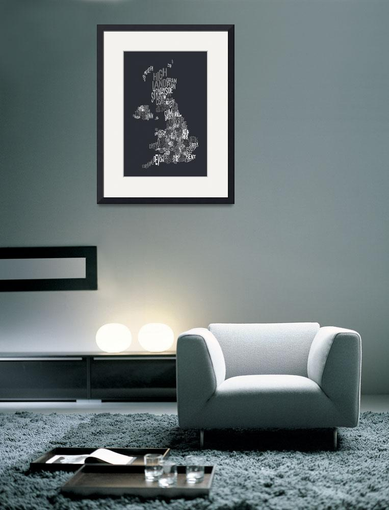 """""""Great Britain County Text Map&quot  (2011) by ModernArtPrints"""