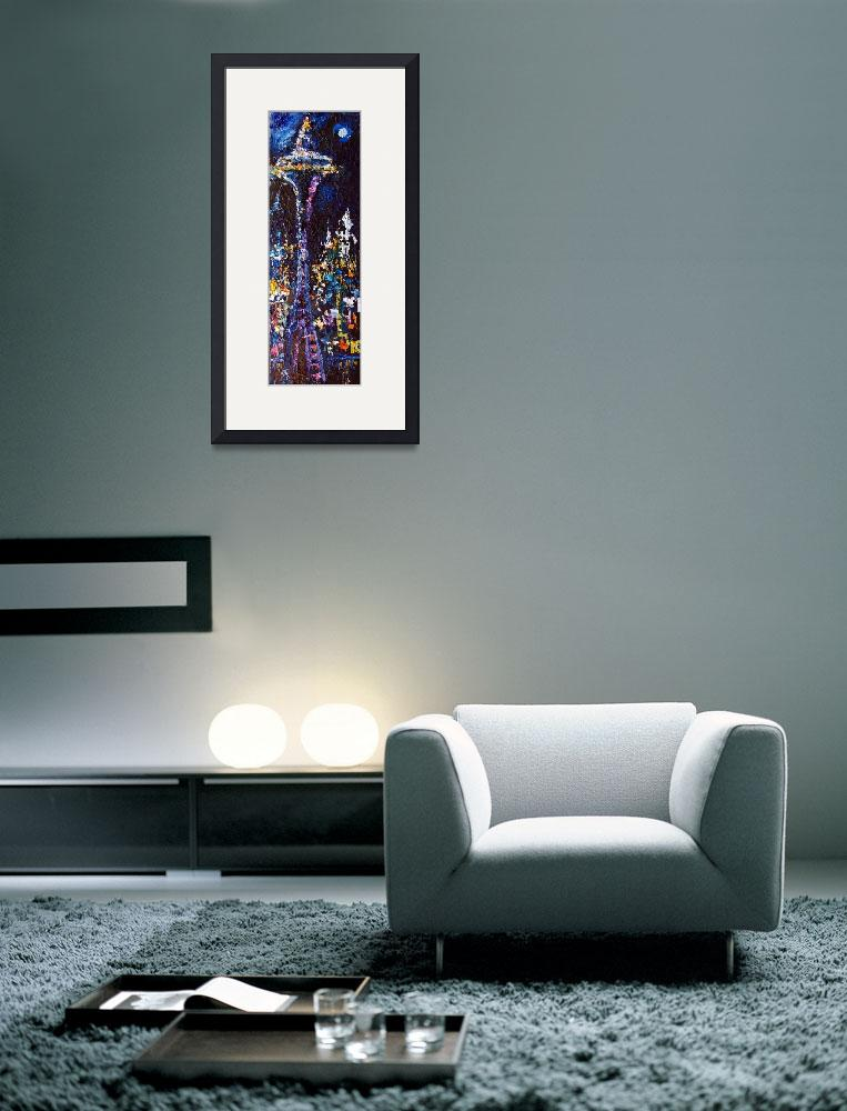 """""""Seattle Space Needle Night Modern Oil Painting""""  (2009) by GinetteCallaway"""